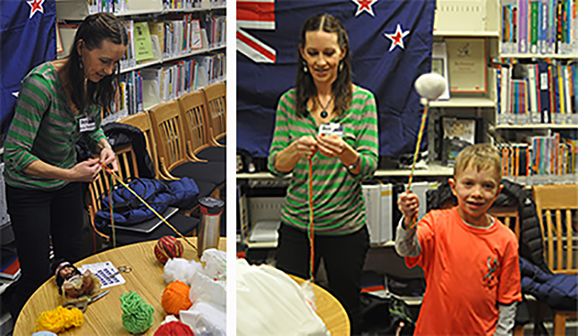 Bex Parkin braids yarn for a poi, the string attached to they soft fabric ball being swung by her son Yorke. Poi is a handmade toy the originated in her native New Zealand's Maori culture. Bex was running the New Zealand table at the interactive activities centre in the public library. David F. Rooney photo