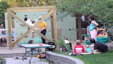 Cohousing can be fun, like this community playground and climbing wall. Photo courtesy of Marc Paradis