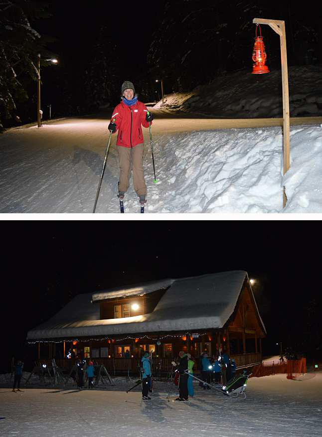 """A steady stream of skiers enjoyed the Revelstoke Nordic Club's New Years Lantern Ski at Mount MacPherson Friday night. The chalet at the base was well lit up and volunteers served hot chocolate there and at the Ole Sandberg Hut higher up the Main Loop trail. As the usual, skiers were guided by kerosene lanterns which hung from the trees and posts along the route. Deb Summers (top), who recently moved to Revelstoke, enjoyed the night ski for the first time. She described the ski as """"magical. You couldn't have had a better night, with the stars and the mountains. What a way to start off the year!"""" Laura Stovel photo"""