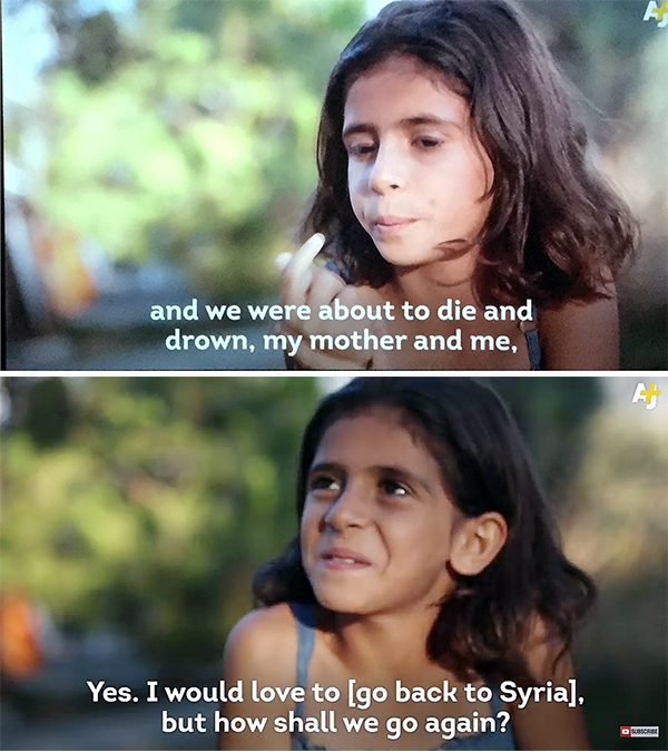 Seven-year-old Malak describes her family's escape to Greece from Syria. She'd like to return but recognizes that may be impossible. Revelstoke Current screen shot