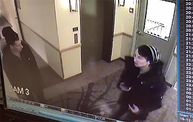 The RCMP have released two images from a surveillance video that show a man and a woman they believe are responsible for a Christmas Eve break-in at the Repose Day Spa at the Hillcrest Hotel. Do you recognize these two people? Surveillance video frame courtesy of Revelstoke Crime Stoppers and the RCMP