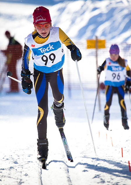 Isabelle Wilkie of Larch Hills streaks to a second-place. Rob Buchanan photo