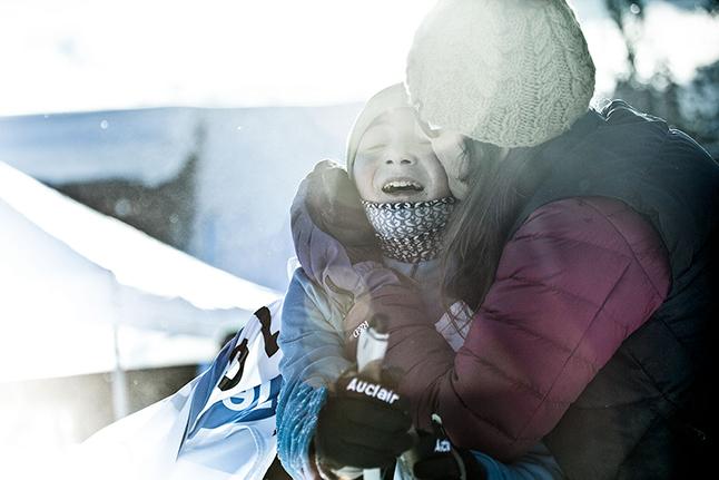 Revelstoke's Aislin Buchanan gets a mother's embrace at the finish. Rob Buchanan photo