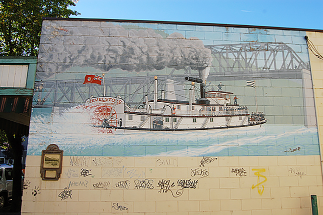 Revelstoke could lose a piece of its artistic heritage familiar to an entire generation — Dave Williams' paddlewheel steamer mural just off First Street West between Selkirk Graphics and the Royal Bank. Please click on the image to see a larger version. David F. Rooney photo