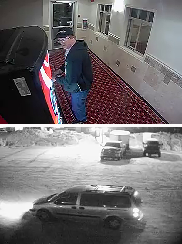 Surveillance cameras continue to be an excellent source of images of criminal suspects for the Revelstoke RCMP detachment. Now all they need to do is locate them. That's certainly the case with this older man who is believed to have absconded with several hundred bucks in cash from vending machines at the Alpine Inn and the Days Inn on Thursday, January 7. Surveillance camera images courtesy of the Revelstoke RCMP