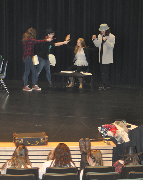 Grade 9/10 students are having a ball rehearsing the comedy How the West was Dunn, which is being publicly performed at the Revelstoke Performing Arts Centre January 14 and 15. David F. Rooney photo