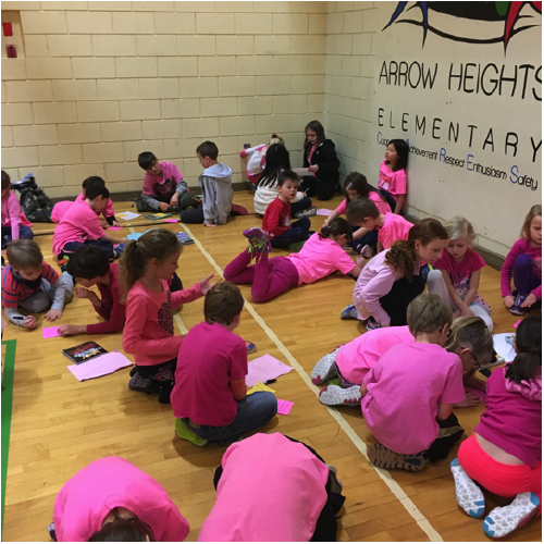 Here are some Arrow Heights students making kindness cards in the AHE gym on February 24. Sean Borthwick photo. Caption by Emily MacLeod, Amelie Delesalle and Rebecca Grabinsky