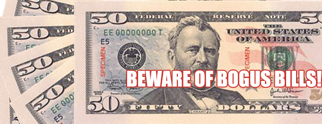 """A """"non-descript"""" couple has been passing counterfeit $50 bills in US currency, Revelstoke Mounties warned retailers on Wednesday, February 10. Revelstoke Current Photoshop illustration"""