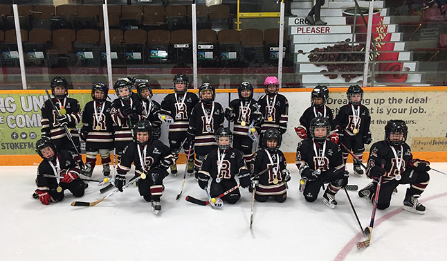 The kids on Revelstoke Minor Hockey's Pre-Novice Team were all smiles at the conclusion of their one-day tournament last Saturday, January 11. Teams from Golden, Sicamous and the North Okanagan also played at this event. Photo courtesy of Tanya Traverse