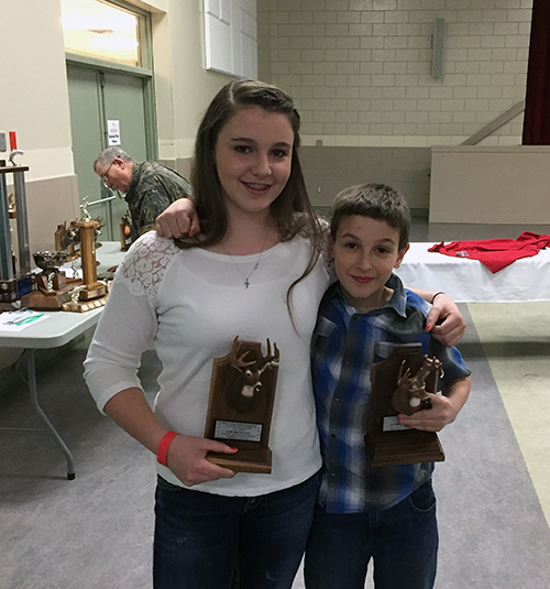 Amy Des Mazes took the award for first white-tail deer (47 6/8) and her brother Austin took second with his 42 4/8 white tail. David F. Rooney photo