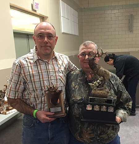 Lou Bernava poses with Alex Cameron (right} and his awards for elk (294) and the Rob Lenzi Memorial Trophy. David F. Rooney photo