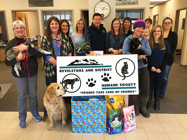 Hub International Barton Insurance Brokers' staff mingled with Revelstoke & District Humane Society members and pets including Roo (left), Trigger and Asher the cat (center right) belonging to people from both organizations during the kickoff photo op for a marvelous effort to raise donations of pet food and money to feed the RDHS' furry charges at the Animal Shelter. Anyone can participate by dropping bags of pet food — or cash — at Barton's new offices at 301B Victoria Road between the Chamber of Commerce and Pharmasave. Barton's is being remarkably generous. Manager John Grass (center next to the RDHS' Shannon Van Goor, said he and the staff are accepting all of the bagged food donations brought in by generous local animal lovers. And, the company is donating $1 per pound of fpet food received at their new offices. David F. Rooney photo