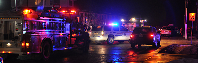 Laforme Boulevard was blocked by Fire Rescue Service and RCMP vehicles and personnel at Pearkes early Wednesday evening after they were arrived to deal with a fire in a one-bedroom unit at Columbia Garden. Unofficially we were told that no one was injured. It did draw a small crowd. David F. Rooney photo