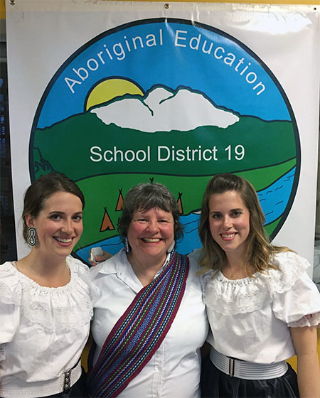Brenda Percell (center) was a member of Revelstoke's first Aboriginal Enhancement Committee. She attended the signing of the new agreement with her daughters Cecilia Gagnon (left) and Lisa Andrykew, both RSS students, who performed after the signing ceremony. Photo courtesy of Brenda Percell