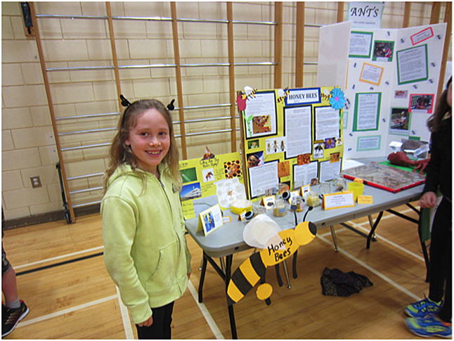 This is Anya Jones sharing her honeybee project. Todd Hicks photo. Caption by Emily MacLeod and Amelie Delesalle