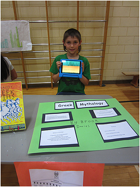 This is Brooke Davies sharing his Greek Mythology project. Todd Hicks photo. Caption by Emily MacLeod and Amelie Delesalle