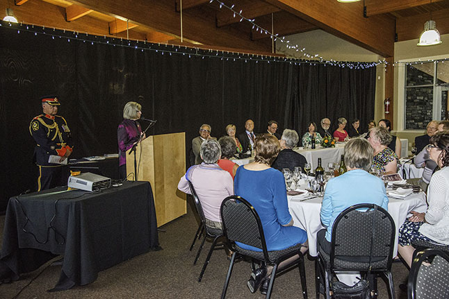 Lieutenant Governor Judith Guichon addressing the crowd at the banquet. Kip Wiley photo
