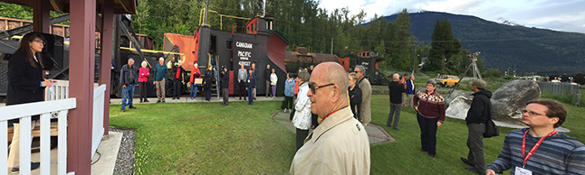 Jennfer Dunkerson, executive director of the Railway Museum, addresses the throng of locals and visitors who turned out for the dedication of the new memorial to Walter Moberly on a brisk early evening on Friday, May 27. The out-of-towners comprised most of the crowd of 63 people here for the BC Historical Federation Conference running from May 26 until May 28. David F. Rooney photo
