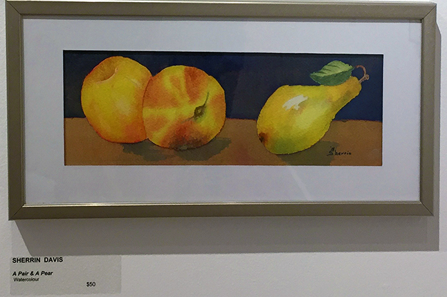 The fruit in this still life by Sherrin Davis look almost good enought to eat. David F. Rooney photo