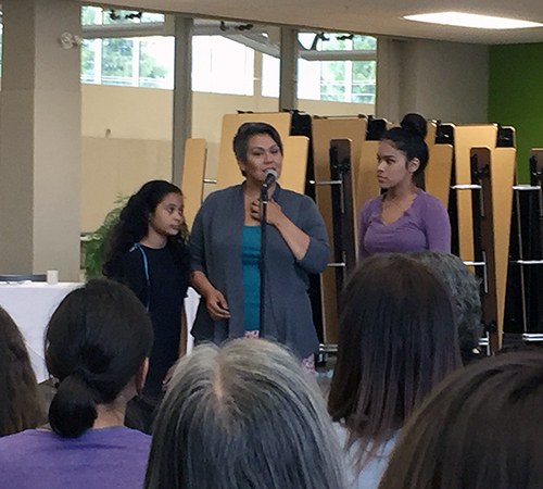 Stevie Seymour and her daughters Lolo (left) and Jamila opened the gathering with a song. Like her father\, Virgil Seymour, is a Sinixt from Colville, Washington. Virgil has been a frequent visitor to Revelstoke organizing activities and talking with students and teachers about native life. Sinixts are regarded by the federal government — foolishly — as an officially extinct tribe. There are many Sinixts still living in the Kootenays and many, many more south of the border. David F. Rooney photo