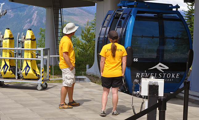 Revelstoke Mountain Resort unveiled its latest attraction on Friday, May 20: The Mountain Coaster a kind of self-directed gravity ride. Staff welcome riders stepping of the gondola at the mind-mountain lodge. David F. Rooney photo
