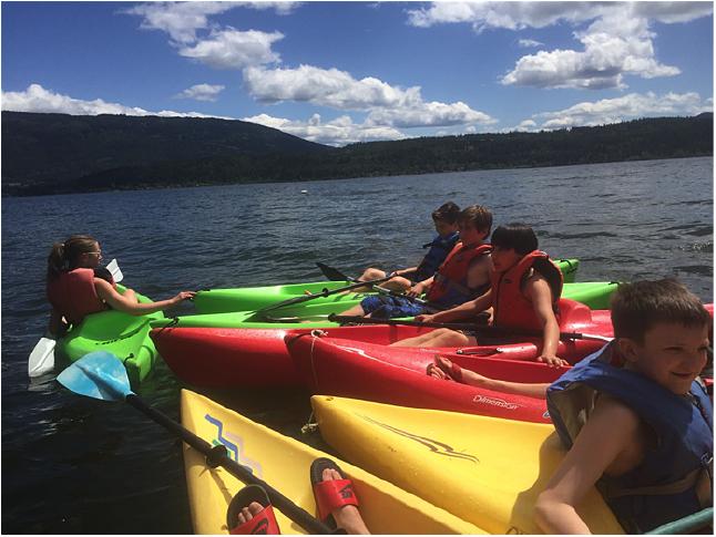 Here are Amelie Delesalle, Stefan Spataro, Mack Buchanan, Marcus Swift and Tyler White having fun kayaking. Tara Johnson photo. Caption by Emily MacLeod, Amelie Delesalle, and Rebecca Grabinsky