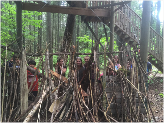 This is Group A hiding behind their wall that they built for a pinecone war. Tara Johnson photo. Caption by Emily MacLeod, Amelie Delesalle, and Rebecca Grabinsky