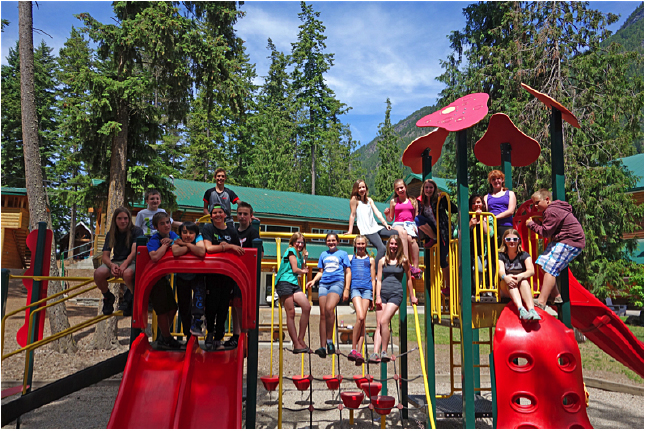 Here are all the Arrow Heights Gr. 7's gathered on the playground after breakfast on Friday morning. Tara Johnson photo. Caption by Emily MacLeod, Amelie Delesalle, and Rebecca Grabinsky