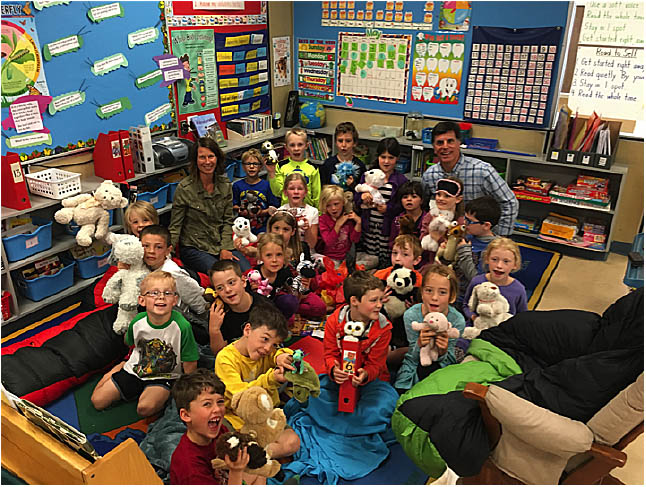 Here is the Gr. 1/2 class with their stuffies. Photo by Kristen Demchuck. Caption by Emily MacLeod, Amelie Delesalle and Rebecca Grabinsky.