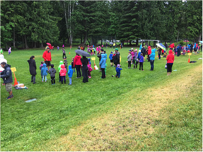 These are the primary students participating in their fun games. Photo by Todd Hicks. Caption by Emily MacLeod, Amelie Delesalle and Rebecca Grabinsky