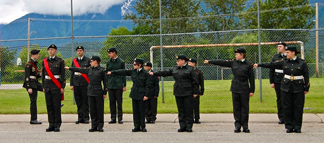 Cadets dressing off for their annual parade, which was held at At. Peter's Anglican Church and on the grounds of the old Mountain View School. Photo courtesy of Capt. Miken Rienks