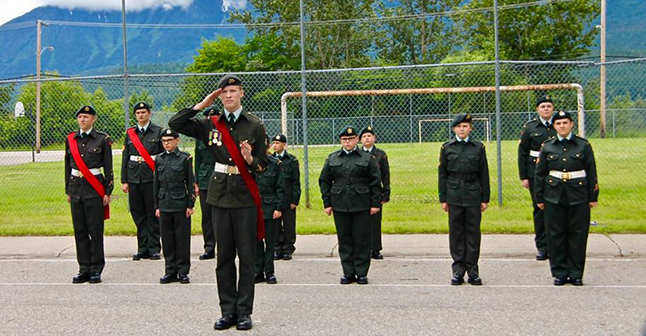 Cadets salute the arrival of the Reviewing Officer (RO). This year it was Lieut.-Col. Judy Peter of Vernon. Photo courtesy of Capt. Miken Rienks