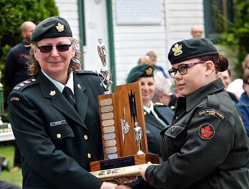 The Best Dressed on Parade award was presented to Cadet Autumn South from by Liet.-Col. Peter. Photo courtesy of Capt. Miken Rienks