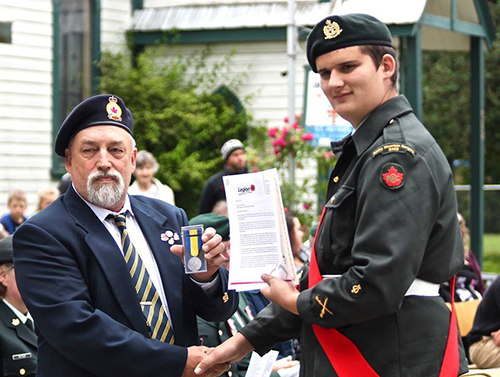 The Royal Canadian Legion's Medal of Excellence was awarded to Sgt. Sol Moorhead by Royal Canadian Legion President Ed Koski. Photo courtesy of Capt. Miken Rienks
