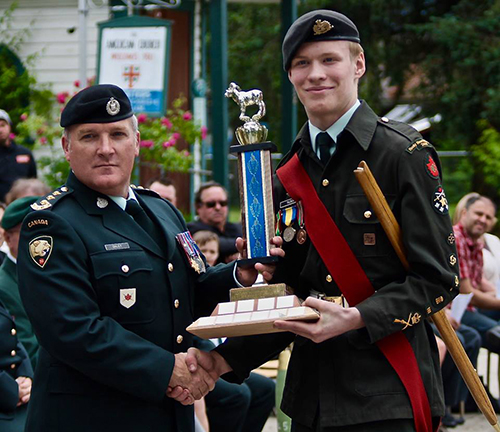 The Outstanding Leadership was awarded to Chief Warrant Officer Alex Tilden by Capt. Jeff Daley of the British Columbia Dragoons. Photo courtesy of Capt. Miken Rienks
