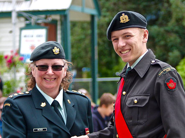 The Lord Strathcona Medal was awarded to Sgt. Aiden Smith by Lieut.-Col. Peter. Photo courtesy of Capt. Miken Rienks