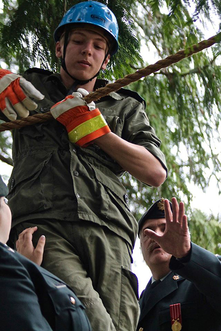 Sgt. Aiden Smith demonstrates the rope bridge. Photo courtesy of Capt. Miken Rienks