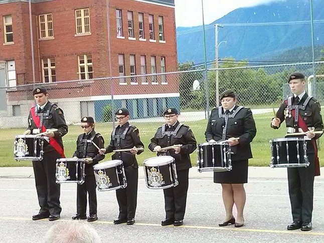 The cadet drum line. From left to right are Sgt. Sol Moorhead, Cpl. Ethan Jameson, Cpl. Harley South, Cadet Autumn South, Second Lieut. Rienks and CWO Alex Tilden. Photo courtesy of Capt. Miken Rienks