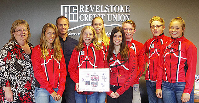Nordic Ski Club athletes who went to the Cross Country Ski Nationals in Whitehorse this year thank the Revelstoke Credit Union for their support. In this photo are (from left to right): Credit Union CEO Roberta Bobicki and RCU Community Liaison Jamie Hobgood. The athletes are Elizabeth Elliot, Kate Granstrom, Beth Granstrom, Miika Park, Simon Blackie, Erik Brosch, and Alana Brittin. Photo courtesy of Lucie Bergeron