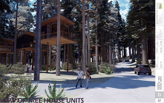 Revelstoke City Council has approved a rezoning application for 7.2 hectares of land in the newly annexed Camozzi Road property where David and Shelly Evans plan to develop the Tree House Hotel. This image ferom the Evans' application is an artist's conception of the hotel. Image courtesy of the City of Revelstoke