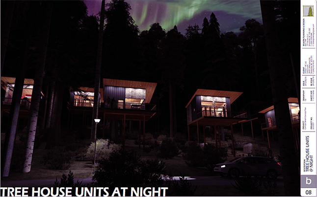 An artist's conceptionof what night be like at the Tree House Hotel. Image courtesy of the City of Revelstoke
