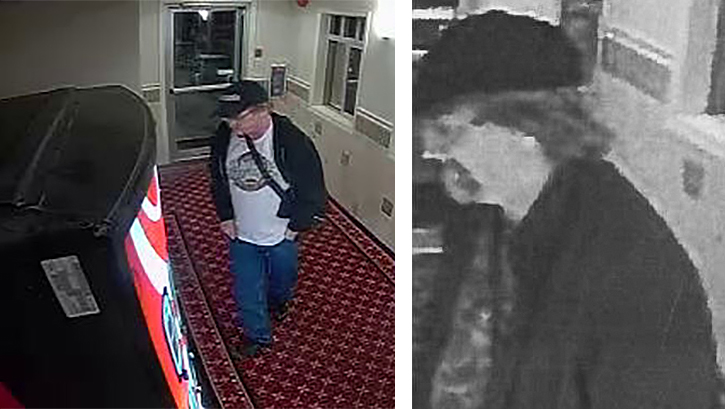 Revelstoke RCMP and Crime Stoppers are asking for the public's help in identifying a man suspected of breaking into a vending machine at the Days Inn and stealing the money inside. Video surveillance photos courtesy of the Revelstoke RCMP