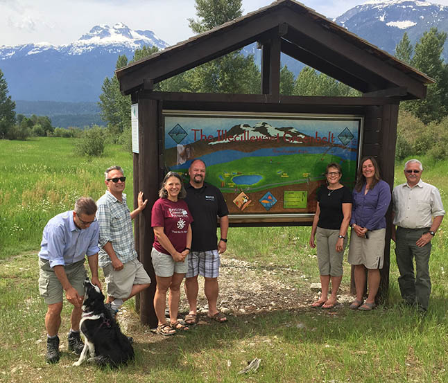 The Illecillewaet Greenbelt has two new and very artistic-looking maps at both ends of the 22-acre woodland preserve along the north bank of the river. Painted by Tina Lindegaard and Sue Davies, this project could not have been accomplished without assistance from some of Revelstoke's generous organizations. From left to right are Ward Kemerer who helped install the maps, Greenbelt Director Kevin Martin, Zofie Humphreys representing the Community Foundation, Todd Weber from the Credit Union, Greenbelt Society Chairwoman Louisa Fleming and Ken Talbot of the Visual Arts Centre. David F. Rooney photo