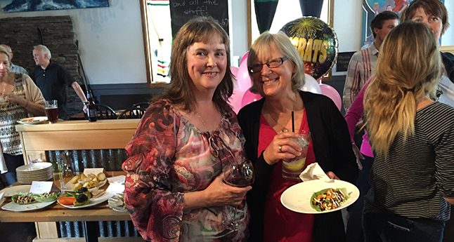 Judy Goodman (left), the Chamber of Commerce's outgoing executive director), poses with Cindy Pearce of Mountain Labrynth during the party to honour her at Chubby Funsters on Thursday, June 23. Judy was hired to oversee the Chamber in the late spring of 2012 and has some definite — Even intriguing! — plans for the immediate future. She and her husband Jamie will spend the summer at their second home in Beaton and then drive across Canada in August. Judy has strong creative urges and wants to do a lot of artistic welding in the months and years to come. We'll keep you posted. ¡Hasta luego, Judy! David F. Rooney photo