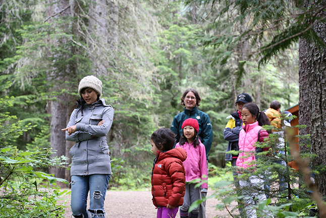 A Parks Canada interpreter led the first-time campers on a nature exploration and camping game. Parks Canada photo
