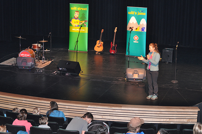 Sarra Dupuis introduced the terrific children's performer Will Stroet to an enthusiastic crowd of children and parents at the Performing Arts Centre on Sunday morning, June 12. David F. Rooney photo
