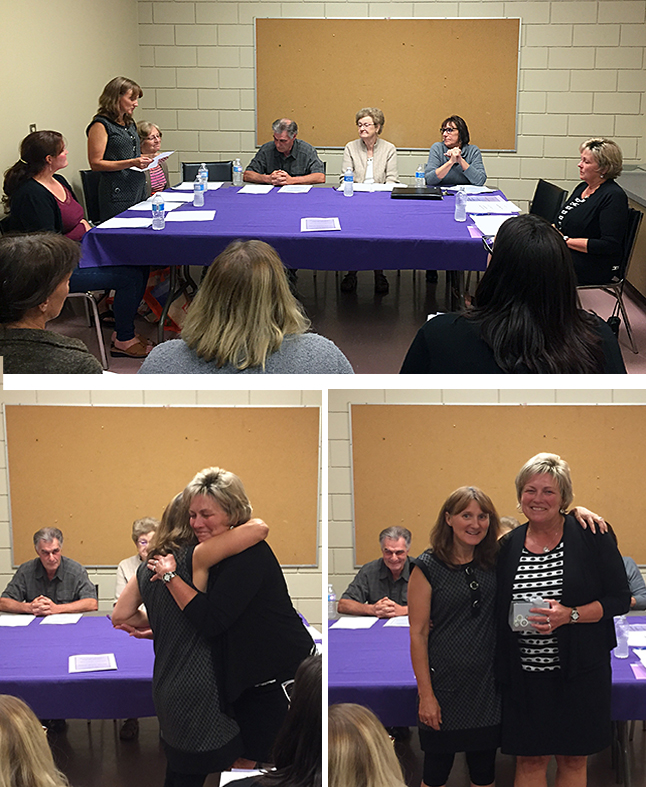 After 14 years ensuring that the Women's Shelter was ticking along smoothly, Nellie Richardson has called it a day. Her successor, Lynn Loeppky (top), announced Nellie's retirement and thanked her profusely for a job well done. Then (bottom two images) she presented she gave a Nelli a heartfelt hug then presented her with a gift on behalf of the board. David F. Rooney photo combination