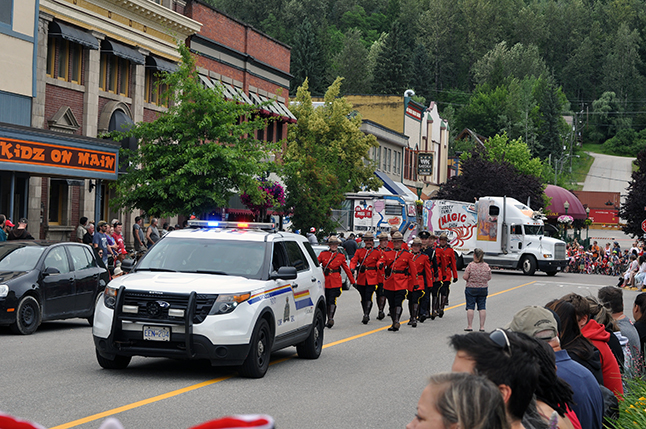 Parades in Revelstoke are rather traditional. The Mounties are almost always the first contingent marching in the parade. David F. Rooney photo