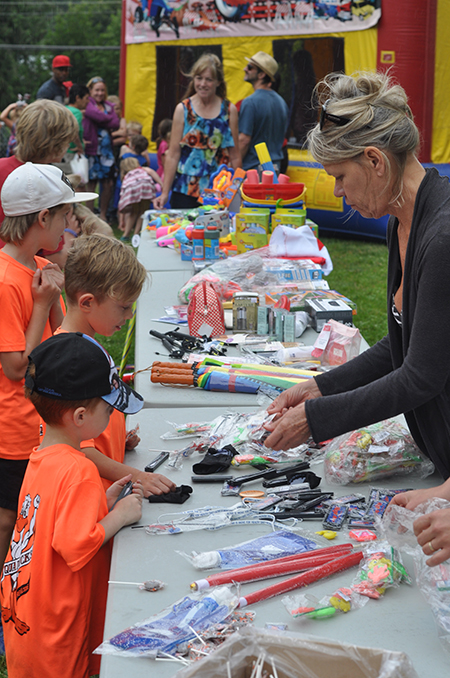 Here's one reason why the children's events were so popular: a table full of swag. David F. Rooney photo