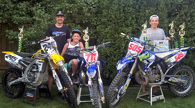 Three of Revelstoke's Revy Riders Club members once again made it to the BC Motocross racing podium. Dirt bikers Skyller Archer, Seth Chevrier and Wyatt Poitras finished up the Six-round MCQMX southern race series this past weekend in Quesnel. Photo courtesy of Joel Chevrier